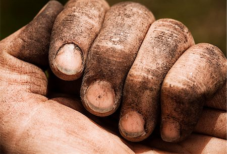 Close-up of woman's dirty hand and nails Stock Photo - Premium Royalty-Free, Code: 698-06966324
