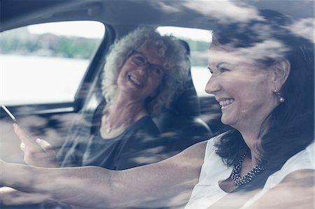 Happy senior women enjoying road trip Stock Photo - Premium Royalty-Free, Code: 698-07635406