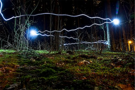 Blue light trails in forest Stock Photo - Premium Royalty-Free, Code: 698-07813042