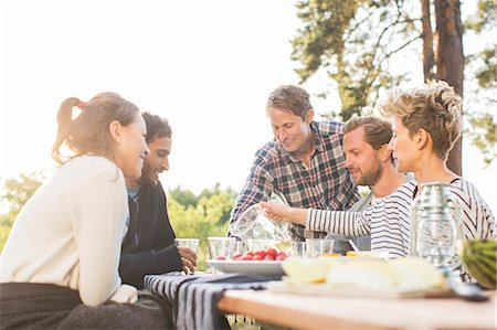 Friends having lunch at picnic table against clear sky Stock Photo - Premium Royalty-Free, Code: 698-08007833