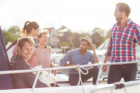 Happy friends enjoying on yacht Stock Photo - Premium Royalty-Free, Code: 698-08007848