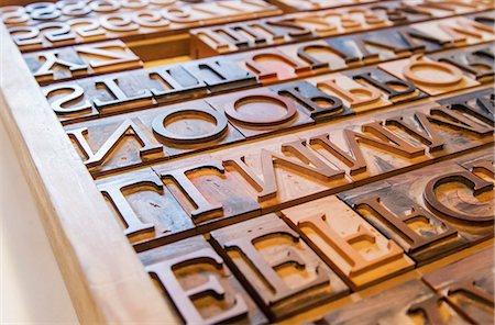 Wooden letterpress blocks Stock Photo - Premium Royalty-Free, Code: 698-08008018