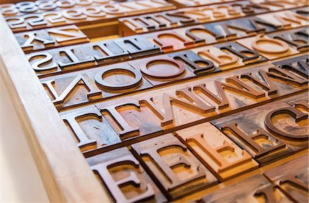 Wooden letterpress blocks Stock Photo - Premium Royalty-Free, Code: 698-08008018