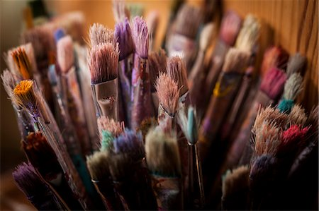 paint - Various old paint brushes at home Stock Photo - Premium Royalty-Free, Code: 698-08104861