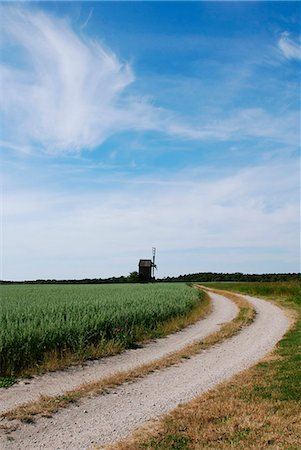 road landscape - Windmill Stock Photo - Premium Royalty-Free, Code: 698-03657633
