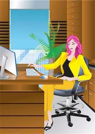 Portrait of young businesswoman working in office,illustration and painting Stock Photo - Premium Royalty-Free, Code: 690-03208782