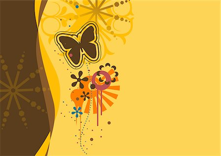 flower design with butterfly - digital background Stock Photo - Premium Royalty-Free, Code: 690-03209264