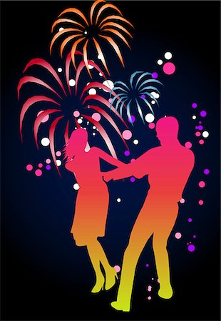firework illustration - digital background Stock Photo - Premium Royalty-Free, Code: 690-03209410