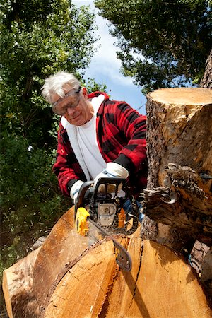 forestry - Senior man cutting tree stump with chainsaw Stock Photo - Premium Royalty-Free, Code: 693-05794405