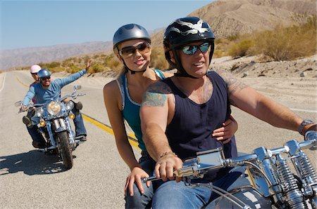 road landscape - Bikers riding on desert road Stock Photo - Premium Royalty-Free, Code: 693-06019479