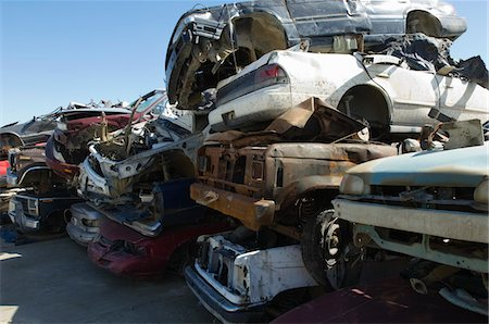 Stacked cars in junkyard Stock Photo - Premium Royalty-Free, Code: 693-06019865
