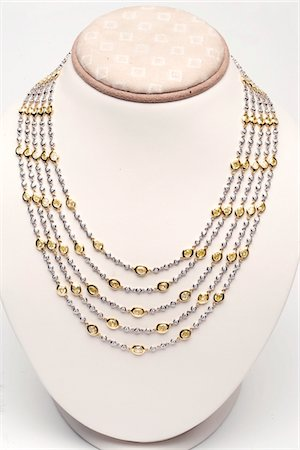 expensive jewelry - 18k white and yellow gold five strand necklace with 44 carats of diamonds Stock Photo - Premium Royalty-Free, Code: 693-06022190