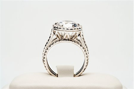 expensive jewelry - Platinum ring with 5 carat centre diamond surrounded by full cut 0.80 carat diamonds Stock Photo - Premium Royalty-Free, Code: 693-06022192