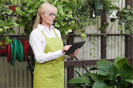 florist - Senior gardener using digital tablet in garden center Stock Photo - Premium Royalty-Free, Code: 693-06324022