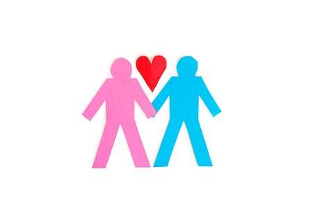 female silhouettes heart - Two stick figures holding hands with a red paper heart over white background Stock Photo - Premium Royalty-Free, Code: 693-06324334