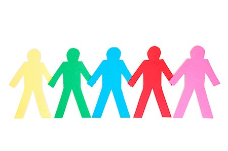 rainbow - Row of multi-coloured paper cut out figures over white background Stock Photo - Premium Royalty-Free, Code: 693-06324332