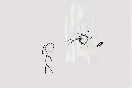draw - Conceptual image of stick figure breaking glass through eraser Stock Photo - Premium Royalty-Free, Code: 693-06325181