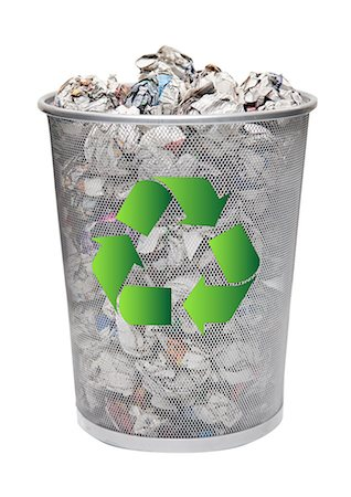 Recycling bin full of crumpled papers over white background Stock Photo - Premium Royalty-Free, Code: 693-06403383