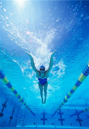 swimming pool water - Full length of female swimmer in United States swimsuit swimming in pool Stock Photo - Premium Royalty-Free, Code: 693-06668097