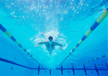 swimming - Underwater shot of male swimmer swimming in pool Stock Photo - Premium Royalty-Free, Code: 693-06668108