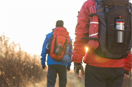 Rear view of male backpackers walking in field Stock Photo - Premium Royalty-Free, Code: 693-07673011