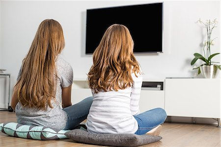 Rear view of siblings watching TV at home Stock Photo - Premium Royalty-Free, Code: 693-07673213