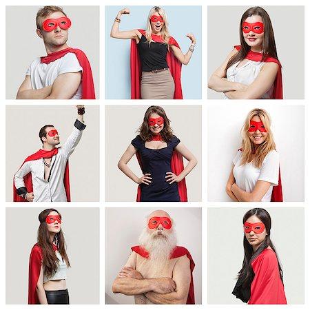 superhero - Collage of confident people wearing superhero costumes Stock Photo - Premium Royalty-Free, Code: 693-07912165