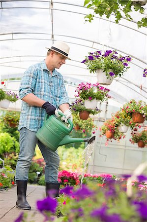 Full-length of man watering flower plants in greenhouse Stock Photo - Premium Royalty-Free, Code: 693-07912856