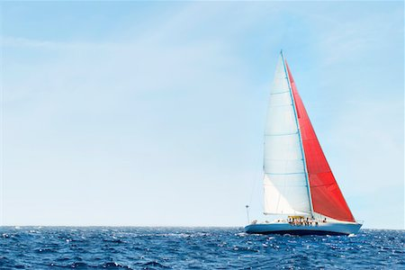 sports and sailing - Yacht on Ocean Stock Photo - Premium Royalty-Free, Code: 693-03299391