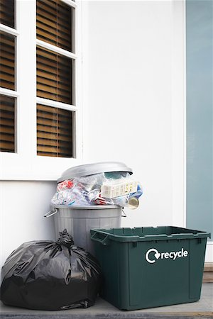 Garbage containers outside building Stock Photo - Premium Royalty-Free, Code: 693-03305212