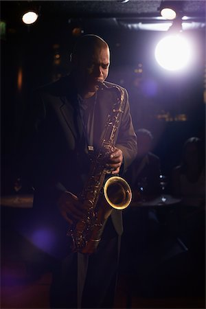 Saxophonist Playing Jazz Stock Photo - Premium Royalty-Free, Code: 693-03564997