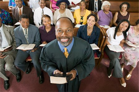 Preacher and Congregation, portrait, high angle view Stock Photo - Premium Royalty-Free, Code: 693-03686348
