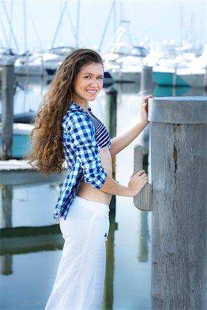Teenage Girl at Marina Stock Photo - Rights-Managed, Code: 700-04163452