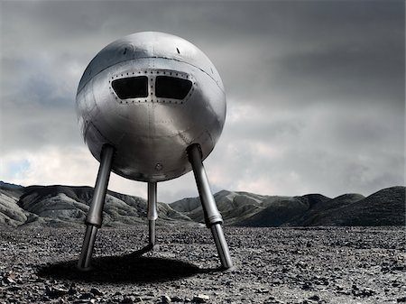 spaceship - Spaceship on Rocky Terrain Stock Photo - Rights-Managed, Code: 700-04223555