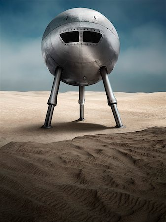 spaceship - Spaceship on Alien Planet Stock Photo - Rights-Managed, Code: 700-04223553