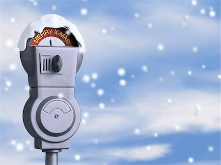 snowflakes  holiday - Merry X-mas Parking Meter Stock Photo - Rights-Managed, Code: 700-04424974