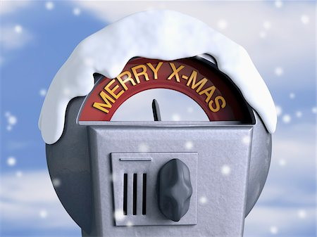snowflakes  holiday - Close-Up of Parking Meter with Christmas Theme Stock Photo - Rights-Managed, Code: 700-04424978