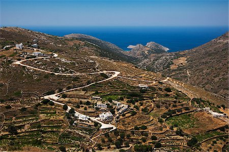 Farm Village in Mountains, near Delfini, Syros, Cyclades Islands, Greece Stock Photo - Rights-Managed, Code: 700-04425018