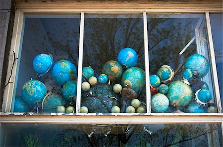 Faded Globes in House Window Stock Photo - Rights-Managed, Code: 700-04425035