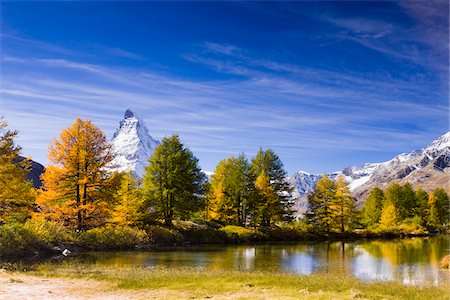 fall trees lake - Lake Grindjisee and Matterhorn in Autumn, near Zermatt, Switzerland Stock Photo - Rights-Managed, Code: 700-04625267