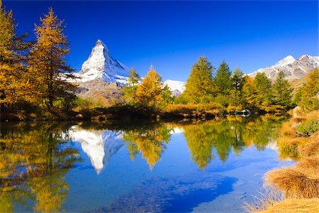 fall trees lake - Lake Grindjisee and Matterhorn in Autumn, near Zermatt, Switzerland Stock Photo - Rights-Managed, Code: 700-04625269