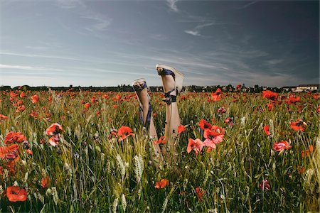 quirky - Woman's Legs in Poppy Field Stock Photo - Rights-Managed, Code: 700-04929246
