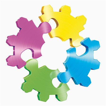 Colourful Puzzle Pieces in Shape of Cog Wheel Stock Photo - Rights-Managed, Code: 700-04931598