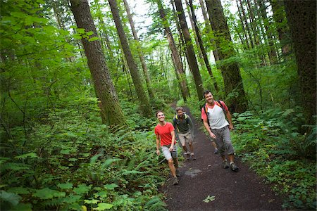 Four Friends Hiking, Columbia River Gorge, near Portland, Oregon, USA Stock Photo - Rights-Managed, Code: 700-04931679