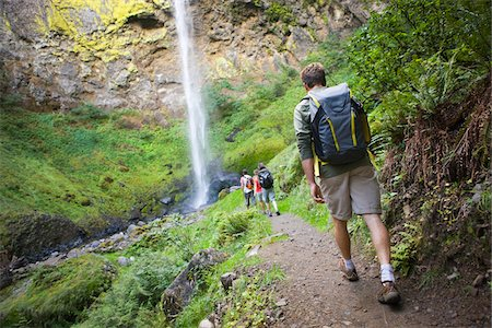Four Friends Hiking near Waterfall, Columbia River Gorge, near Portland, Oregon, USA Stock Photo - Rights-Managed, Code: 700-04931681