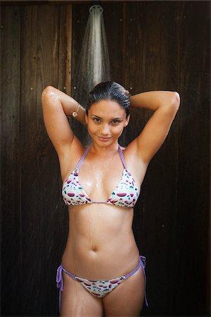 filipina - Woman Wearing Bikini in Shower Stock Photo - Rights-Managed, Code: 700-05389266