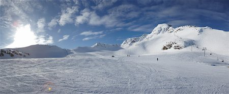 panoramic winter scene - Ski Hill, Whistler Mountain, Whistler, British Columbia, Canada Stock Photo - Rights-Managed, Code: 700-05389329