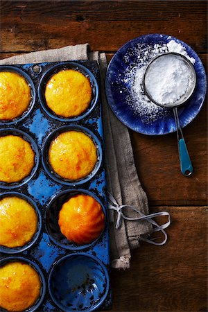 sweets - Cornbread Muffins and Icing Sugar Stock Photo - Rights-Managed, Code: 700-05389345
