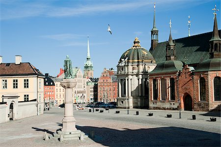 stockholm - Riddarholmskyrkan Church and Town Square, Riddarholmen, Gamla Stan, Stockholm, Sweden Stock Photo - Rights-Managed, Code: 700-05389381