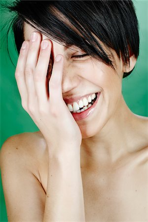 Close-Up of Woman Laughing Stock Photo - Rights-Managed, Code: 700-05451014